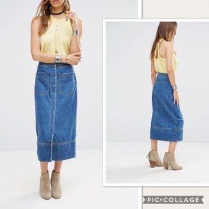 NWT Free People Just A Dream Denim Maxi Skirt